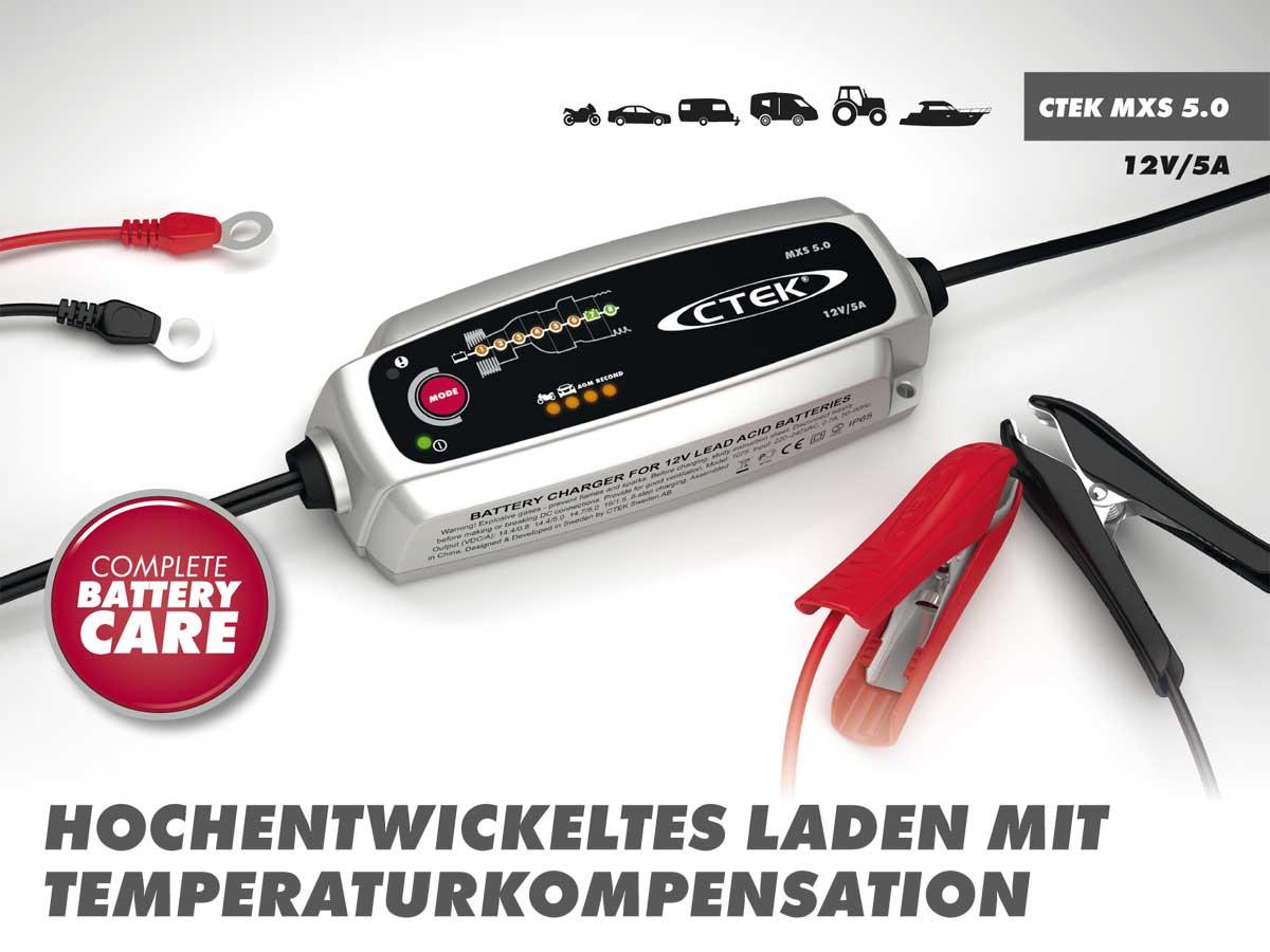 ctek mxs 5 0 batterie ladeger t 12v temperaturkompensation. Black Bedroom Furniture Sets. Home Design Ideas